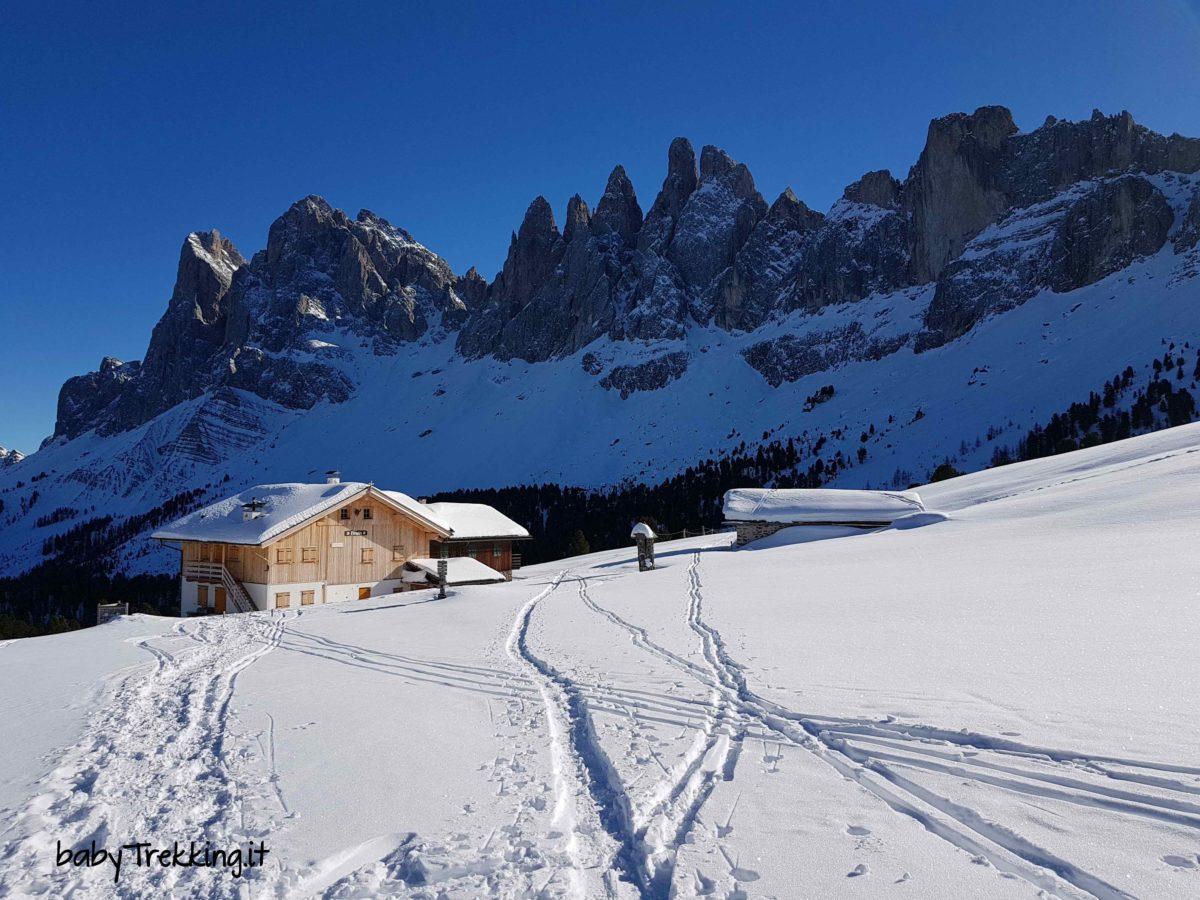Malga Brogles in inverno: con le ciaspole tra Val di Funes e Val Gardena