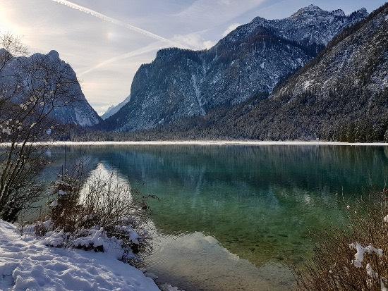In slitta al lago di Dobbiaco