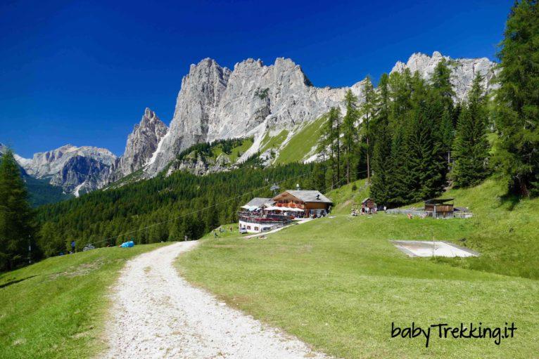 Rifugio Mietres col passeggino, sotto al Pomagagnon con vista Cortina